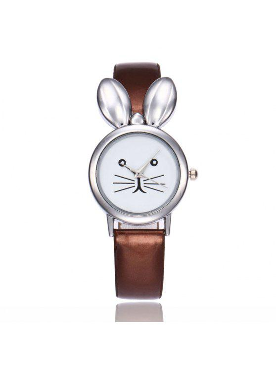 shops Faux Leather Strap Rabbit Ears Watch - COFFEE