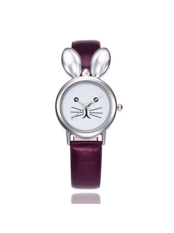 Faux Leather Strap Rabbit Ears Watch - Pourpre