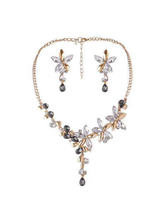 Collar de flor de cristal falso y conjunto de pendientes - Blanco