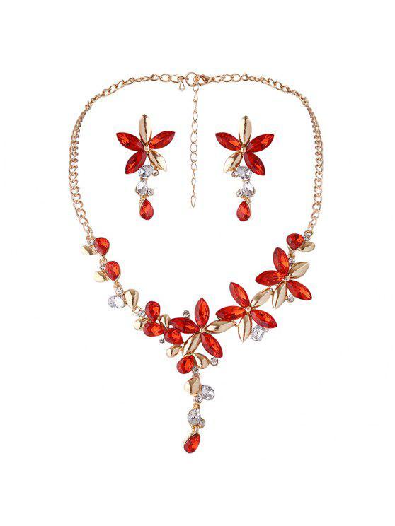 Faux Crystal Collier à fleurs et boucles d'oreilles - Rouge