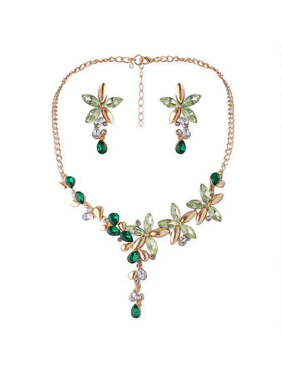 Faux Crystal Collier à fleurs et boucles d'oreilles - Vert