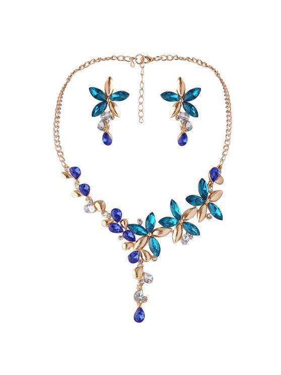 Collar de flor de cristal falso y conjunto de pendientes - Azul