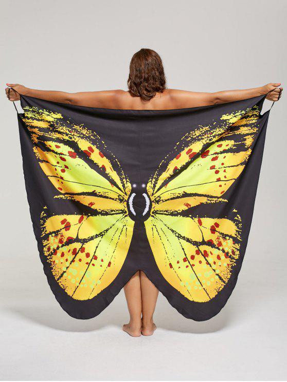فستان الحجم الكبير طباعة الفراشة لف - الأصفر XL
