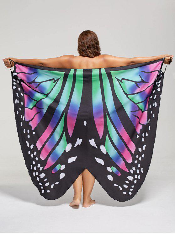 فستان الحجم الكبير طباعة الفراشة لف - Colormix 4XL