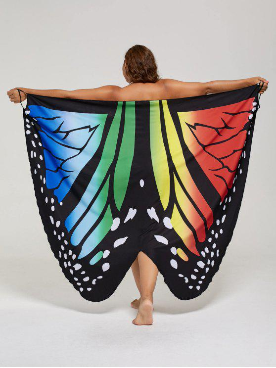 فستان الحجم الكبير طباعة الفراشة لف - ملون XL