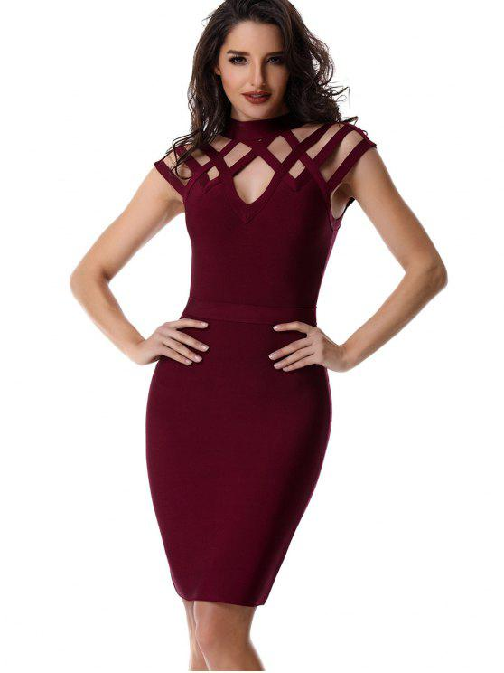 fashion High Neck Cut Out Bandage Dress - WINE RED M
