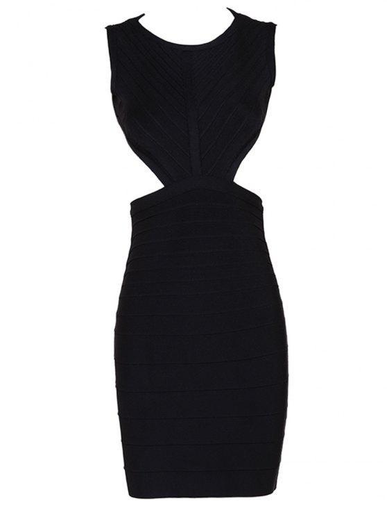 Halter Open Back Bodycon Bandage Dress - Preto S