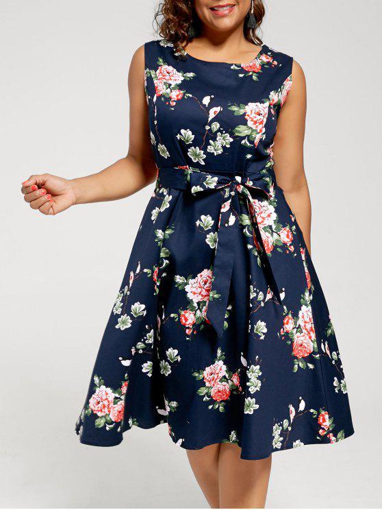 new Floral Sleeveless Plus Size Tea Length Dress - PURPLISH BLUE 4XL