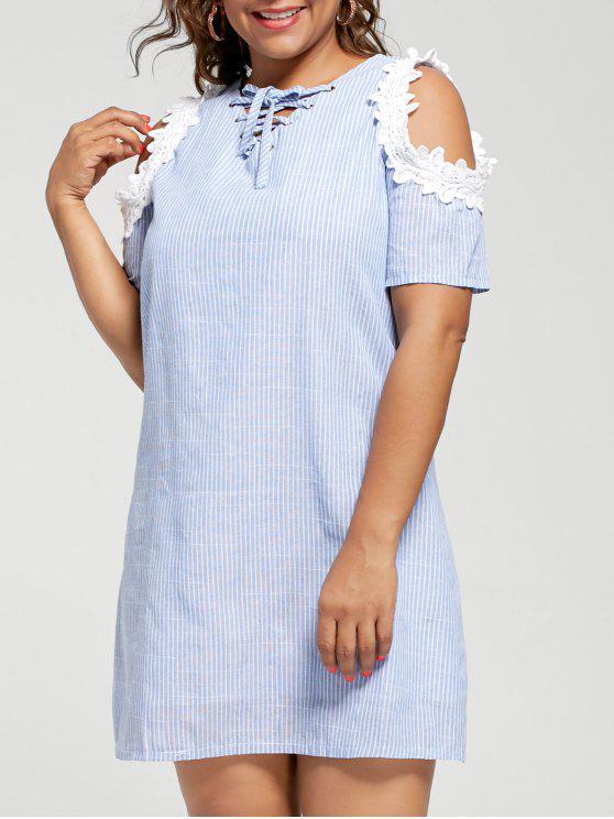 Vestido de talla grande a rayas de hombro frío - Raya Azul 5XL