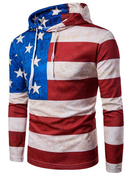 مقنعين العلم الأمريكي المتعثرة طباعة هوديي - Colormix 2XL