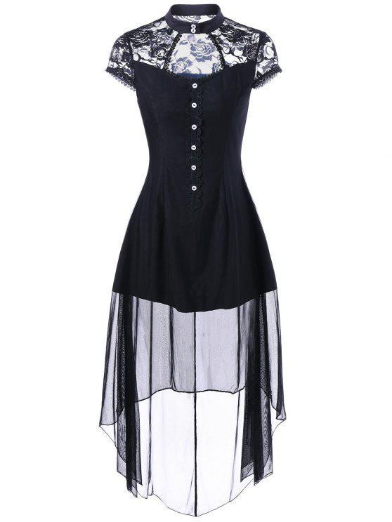 فستان نادي دانتيل عالية انخفاض حفلة - أسود 2XL