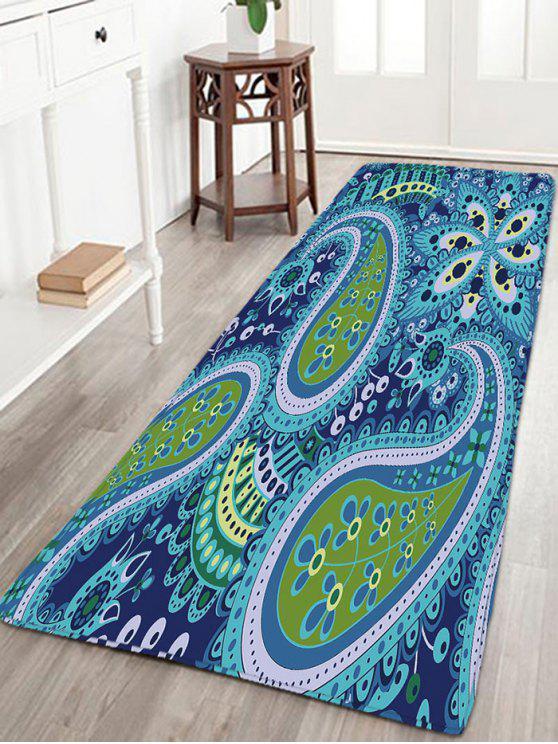 البوهيمي زهرة طباعة الفانيلا حمام البساط - أزرق W16 بوصة * L47 بوصة