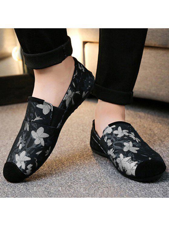 الأزهار طباعة الانزلاق على أحذية رياضية - أسود 44