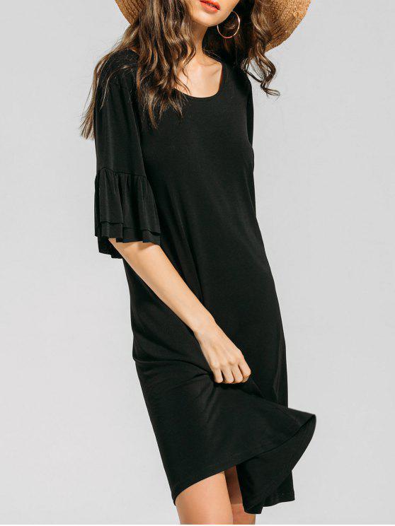 فستان مريح كشكش توهج الأكمام - أسود S