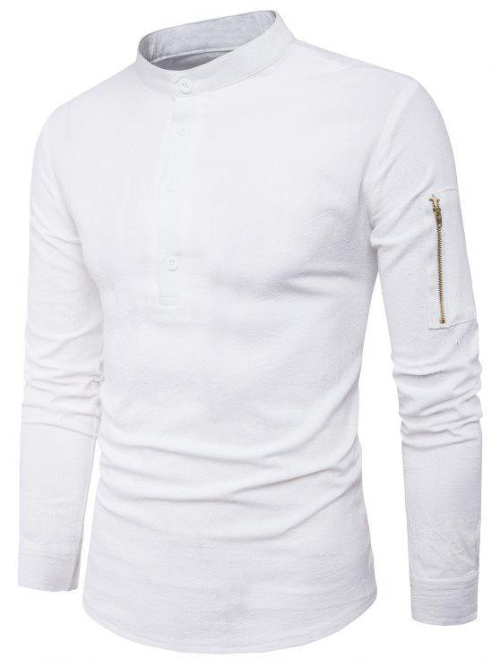 الوقوف طوق نصف أزرار زمم الجيب قميص - أبيض M