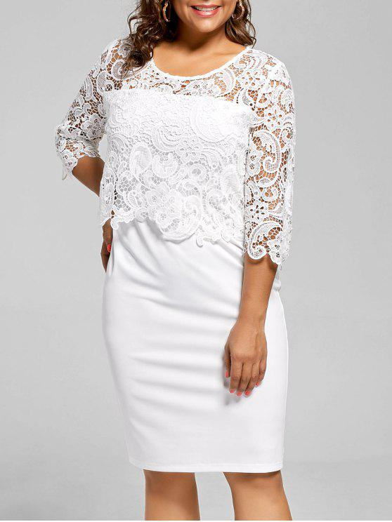 Plus Size Lace Panel Knee Length Dress WHITE