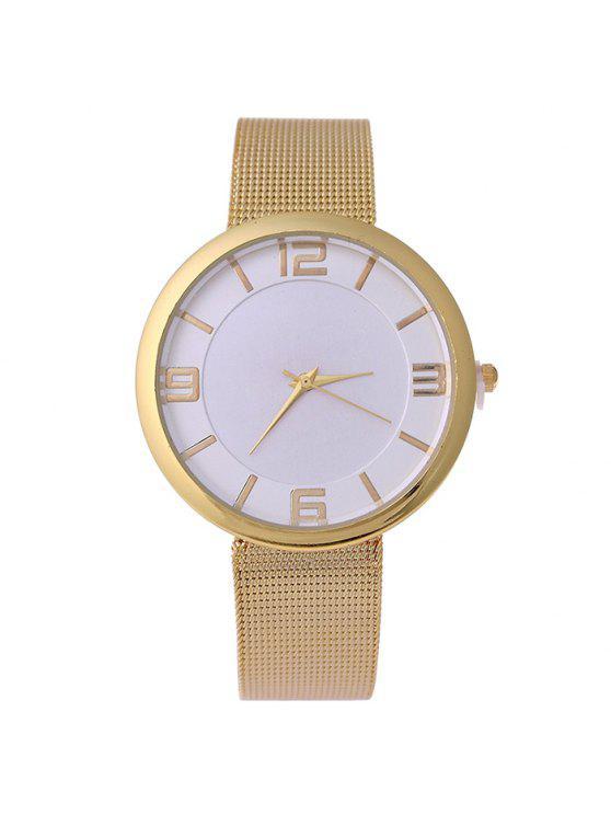 ساعة شريطها بخليط معدني - ذهبي