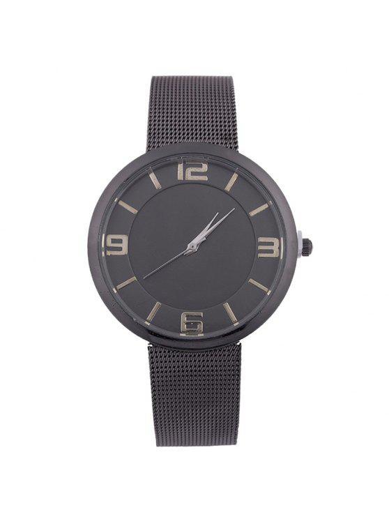 ساعة شريطها بخليط معدني - أسود
