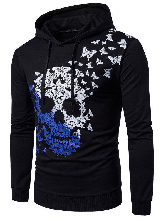 هوديي طباعة الفراشة والجمجمة أومبير طويلة الأكمام - أسود 2XL