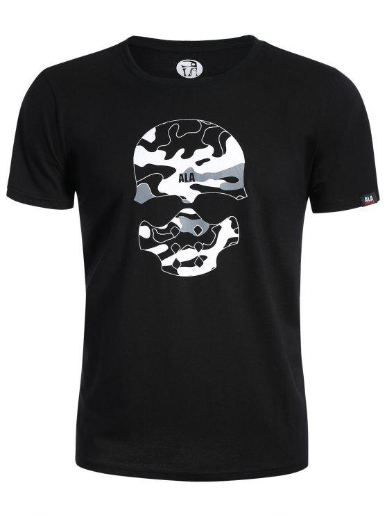 ladies Skull Print Graphic Camo Tee - BLACK L