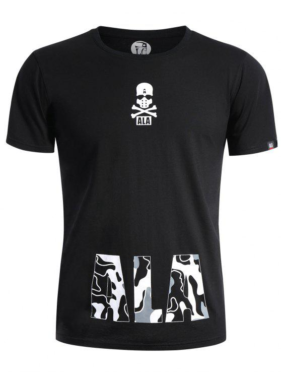 latest Round Neck Skull Print Graphic T Shirt - BLACK L