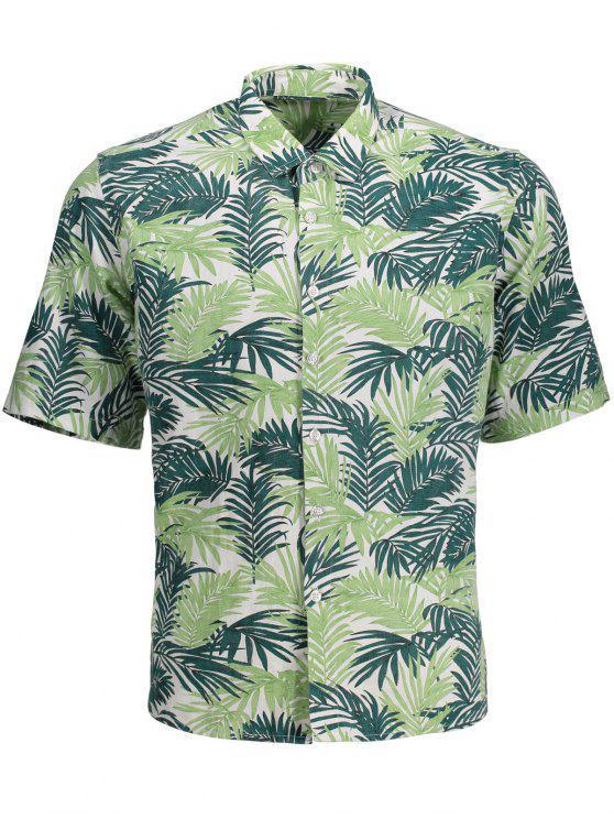 hot Half Sleeve Leaf Print Denim Shirt - FLORAL M