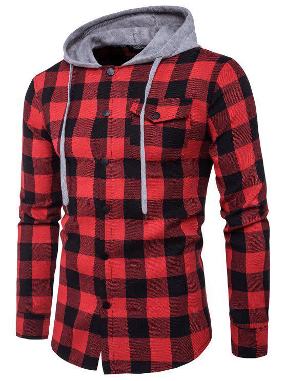 قميص مقنعين لوحة الجيب الترتان - أسود أحمر 2XL