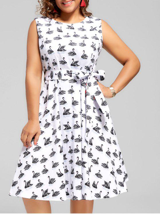 فستان طباعة سوان الحجم الكبير ميدي كلاسيكي - أبيض 3XL