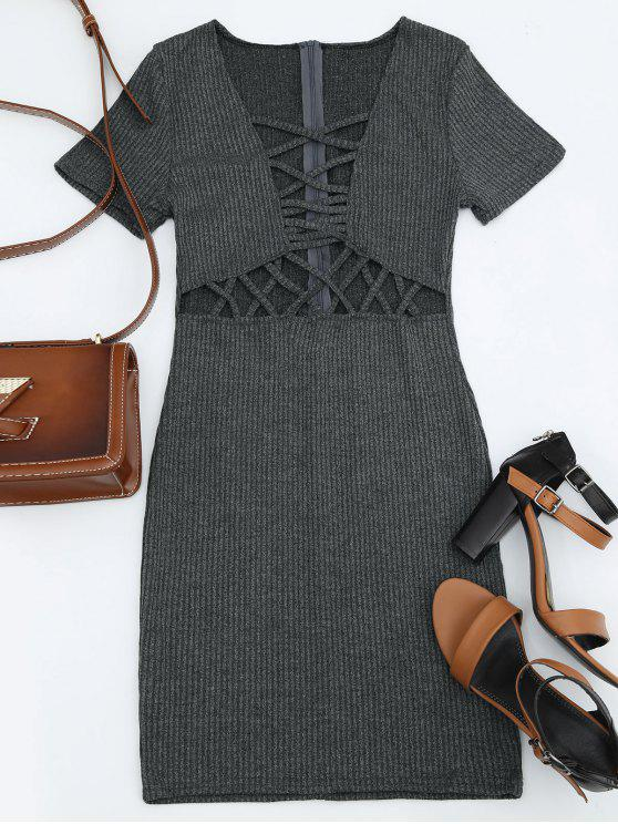 ladies Criss Cross Cut Out Plunge Knitted Dress - DEEP GRAY M