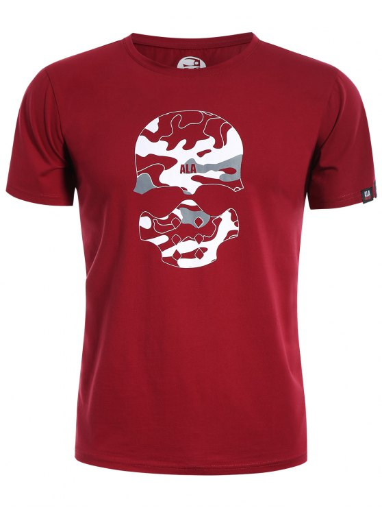 fancy Graphic Skull Print Camo Tee - RED 2XL