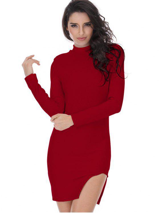 Bodycon Kleid mit Schlitz und Langarm - Dunkelrot M