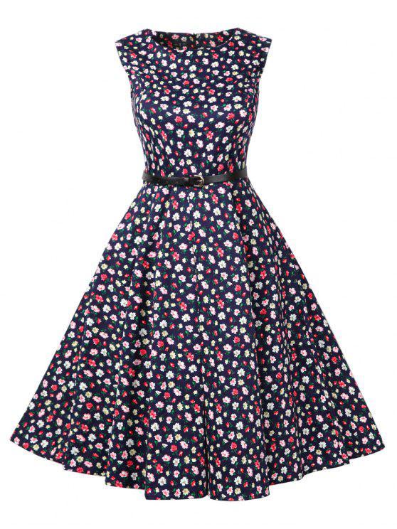 2fce793de1fd8 35% OFF] 2019 Vintage Tiny Floral Print Skater Dress In PURPLISH ...