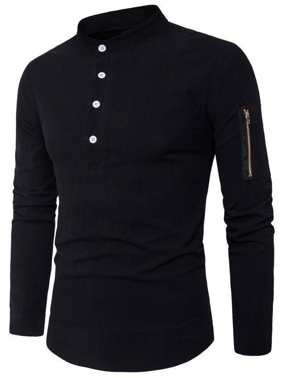 قميص الوقوف طوق نصف أزرار زمم الجيب - أسود M