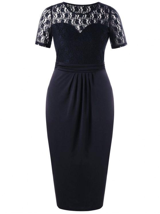 Plus Size Lace Trim Sheer Pencil Dress