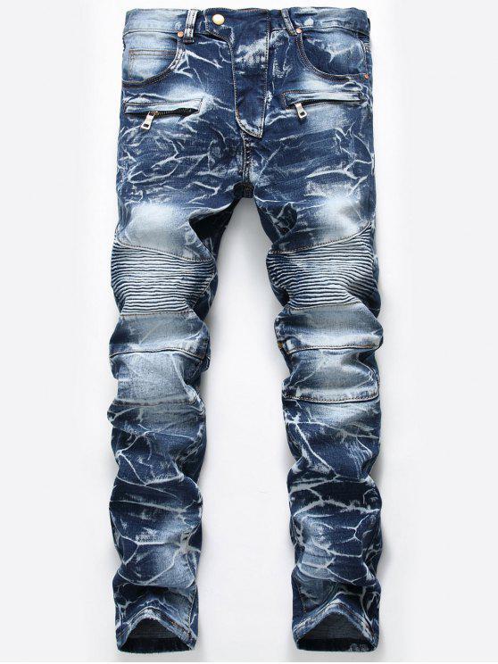 Jeans de Tie Dye com Zíper - Azul Denim 36