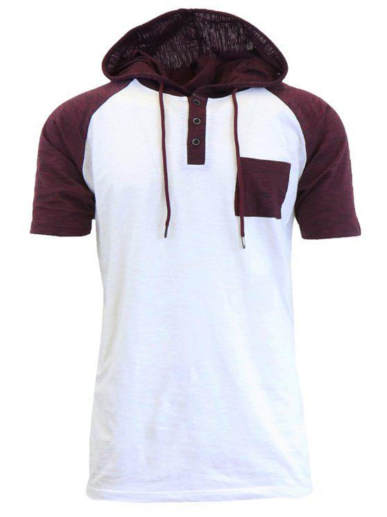 best Hooded Drawstring Panel Design Raglan Sleeve T-shirt - WHITE S