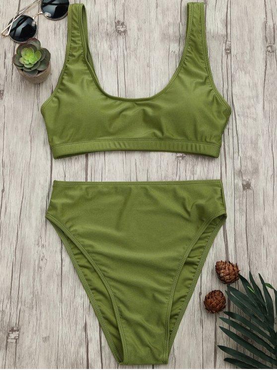 unique High Cut Scoop Bralette Bikini Set - GREEN S