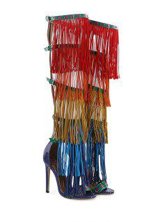 Belt Buckle Fringe Zipper Sandals - Floral 38