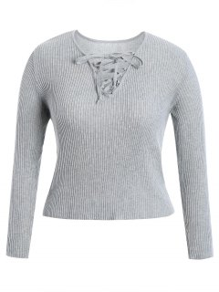 Ribbed Lace Up Plus Size Knitwear - Gray 3xl