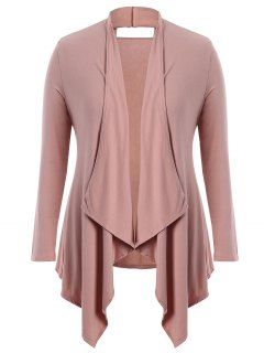 Cut Out Plus Size Shawl Collar Cardigan - Pink 3xl