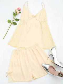 Lace Satin Camisole Shorts Pyjama Set - Fleischfarben M