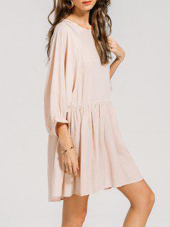Ruffled Seam Batwing Sleeve Mini Dress - Pink Xl