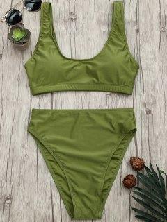 High Cut Scoop Bralette Bikini Set - Green L