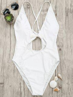 Knot Plunge Cutout One Piece Swimsuit - White L