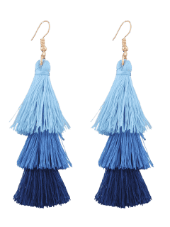 Tassel Layered Hook Drop Earrings - Blue