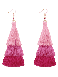 Tassel Layered Hook Drop Earrings - Pink