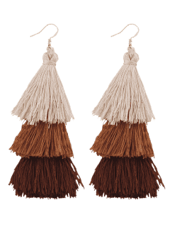 Tassel Layered Hook Drop Earrings - Brown
