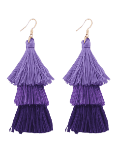 Tassel Layered Hook Drop Earrings - Purple