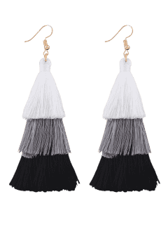 Tassel Layered Hook Drop Earrings - Black + White