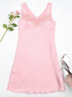Lace Trim Satin Sleep Tank Dress - Pink M